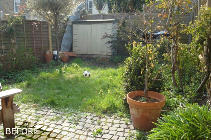 Before photos of small back garden, Ellesmere road, Bow, E3