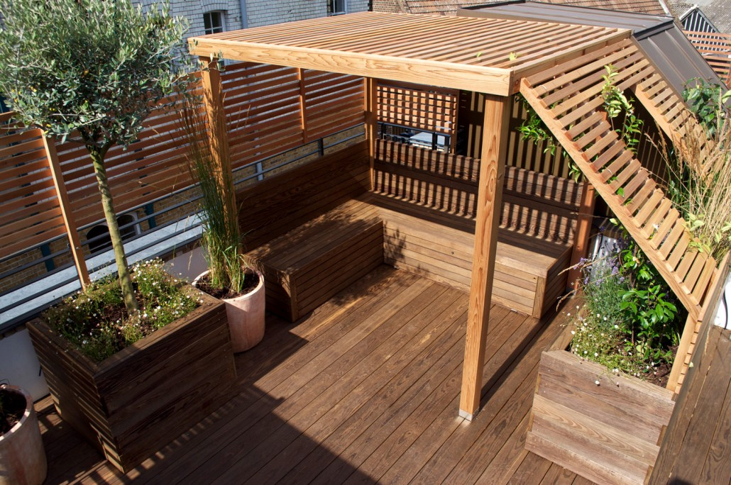 Garden landscape design for roof terraces balconies for Balcony on roof