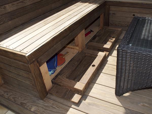 Kebony bench storage