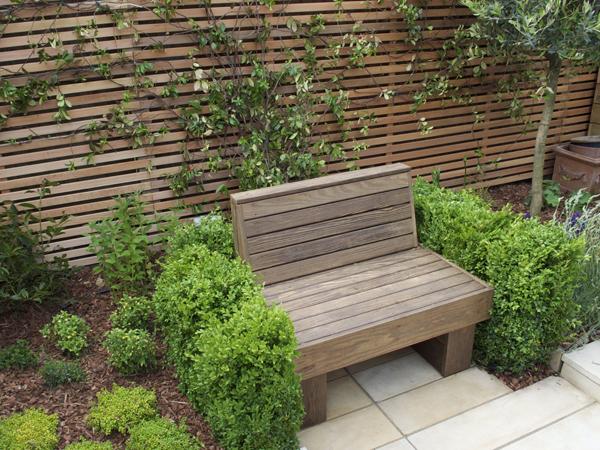 Kebony hardwood small reading bench