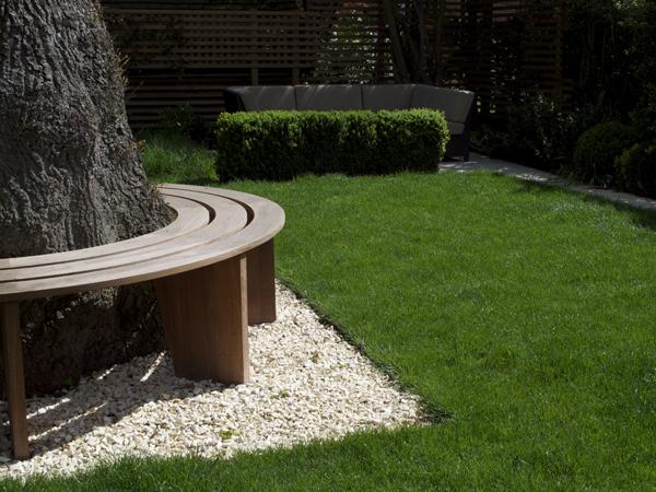 Iroko hardwood curved tree seat bench