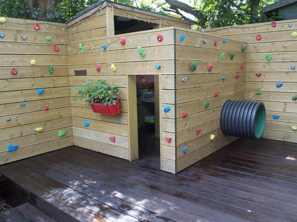 Softwood children's play den / climbing wall