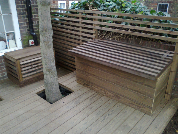 Outdoor Kebony hardwood and stained softwood garden cupboard and aircon cover