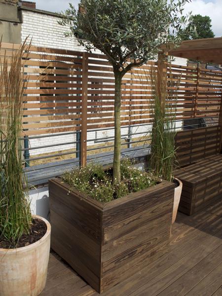 Kebony hardwood tree planter