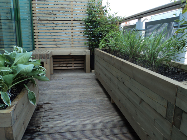 Chunky softwood raised bed balcony planters