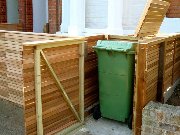 Front garden hidden cedar bin store cupboard