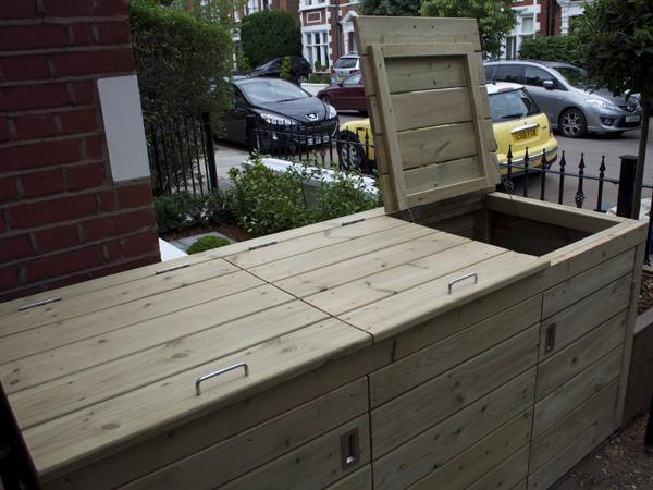 Outdoor softwood multi bin storage cupboard